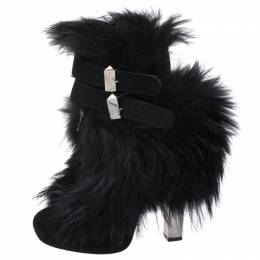 Roberto Cavalli Black Suede And Fur Trim Ankle Boots Size 38 261236