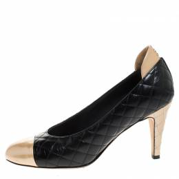 Chanel Black/Gold Quilted Leather Cap Toe Pumps Size 37.5 261762