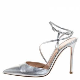 Gianvito Rossi Silver Leather Pointed Toe Ankle Strap Sandals Size 39 262863