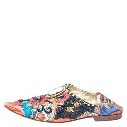 Dolce&Gabbana Multicolor Fabric Crystal Embellished Flat Mules Size 38 262867