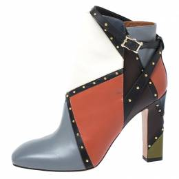 Valentino Multicolor Studded Paneled Leather Ankle Boots Size 40 262869