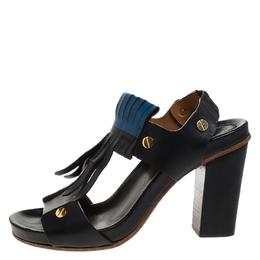 Chloe Black Leather Fringes Block Heel Sandals Size 39.5 263807