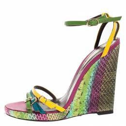 Roberto Cavalli Multicolor Leather And Python Wedge Strappy Sandals Size 37 262683