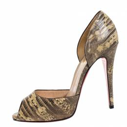 Christian Louboutin Beige/Brown Lizard Leather Madame Claude Peep Toe Pumps Size 39.5 261462
