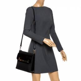 DKNY Black Leather Flap Shoulder Bag 263659