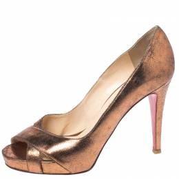 Christian Louboutin Metallic Bronze Leather Peep Toe Platform Pumps Size 41 261631