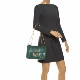 Chloe Green Snakeskin Medium Elsie Shoulder Bag