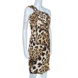 Roberto Cavalli Brown Animal Print Brooch Detail One Shoulder Dress M 261658