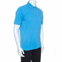 Ch Carolina Herrera Blue Pique Cotton Polo T Shirt M