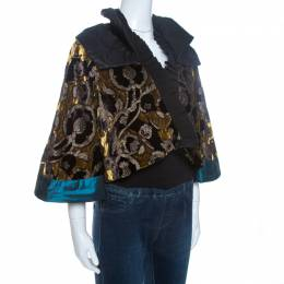 Etro Multicolor Velvet Jacquard Cropped Kimono Jacket S 261656
