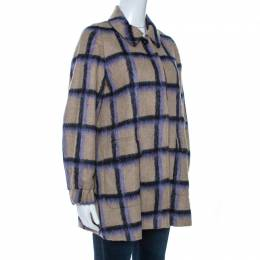 Ch Carolina Herrera Beige Alpaca Trim Windowpane Check Coat XS 261644