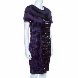 Gucci Purple Silk Embellished Fringe Detail Dress M 261424
