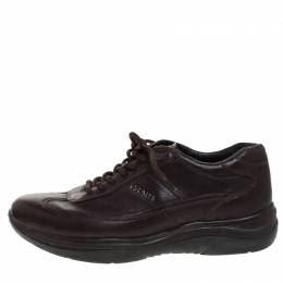 Prada Brown Leather Lace Up Sneaker Size 40 262422
