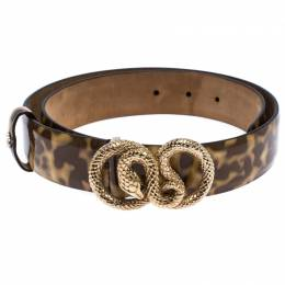 Roberto Cavalli Brown/Cream Patent Leather Snake Buckle Belt 80CM 261510