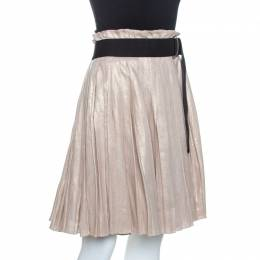 D&G Gold Linen Pleated Wrap Skirt S Dandg 262739