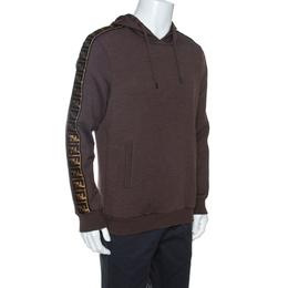 Fendi Brown Wool Blend Logo Tape Trim Hooded Sweatshirt M 263405