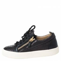 Giuseppe Zanotti Design Black Python Embossed Leather May London Low Top Sneakers Size 37