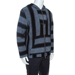 Amiri Bicolor Striped Terry Cotton Zip Front Baja Hoodie M 263454