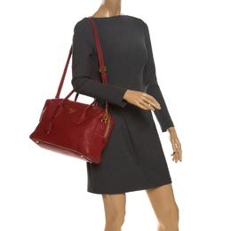 Prada Red Vitello Daino Leather Bauletto Bag 262856