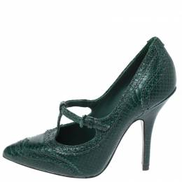 Tory Burch Green Brogue Python Embossed Leather Everly Pumps Size 37.5