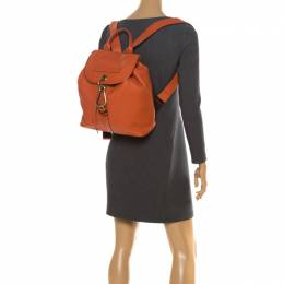 Burberry Orange Leather Hook Flap Backpack 261987