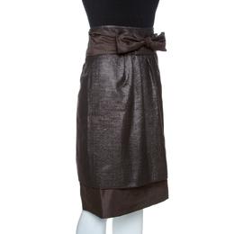 Ch Carolina Herrera Brown Lurex Jacquard Silk Bow Detail Skirt L 261634