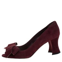 Miu Miu Maroon Suede Bow Detail Block Heel Pumps Size 37