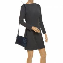 Bottega Veneta Indigo Intrecciato Leather Nodini Crossbody Bag 262504