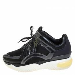 Fendi Black Leather, Mesh And Rubber Runway Chunky Sneakers Size 40 261299