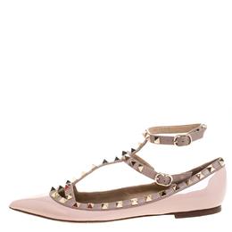 Valentino Beige Patent Leather Rockstud Ballet Flats Size 37.5 261564