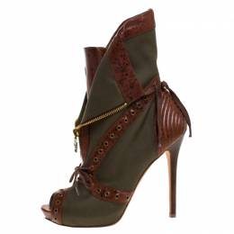 Alexander McQueen Khaki Green/Brown Canvas and Leather Faithful Peep Toe Boots Size 39 261565