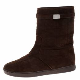 Dior Brown Cannage Suede Fur Lined Cosy Ankle Boots Size 37.5 263067