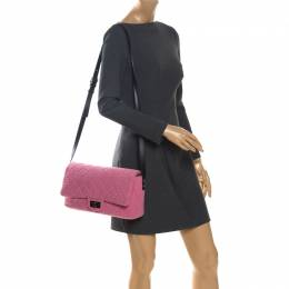 Chanel Pink/Black Quilted Tweed and Leather 2.55 Reissue Flap Bag 262884