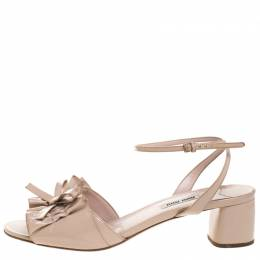 Miu Miu Beige Patent Leather Ruffled Bow Embellished Ankle Strap Sandals Size 41 263845