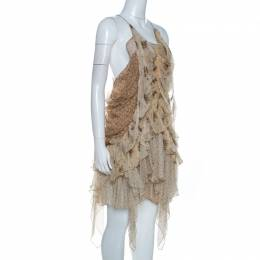 Roberto Cavalli Beige Floral Print Chiffon Silk Strappy Tiered Dress M 261620