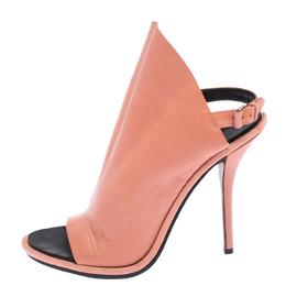Balenciaga Peach Orange Leather Glove Peep Toe Sandals Size 41 262407