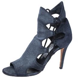 Jimmy Choo Blue Denim Cut Out Lace Detail Lucky Peep Toe Sandals Size 38.5 261754
