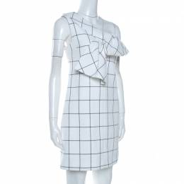 Victoria Victoria Beckham Windowpane Check Cotton One Shoulder Dress S