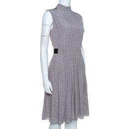 Prada Grey and Mauve Geometric Printed Silk Pleated Dress M 262526
