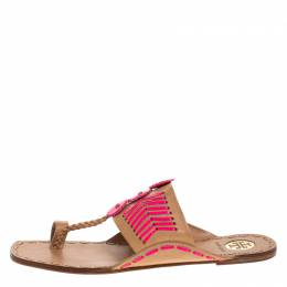 Tory Burch Beige/Pink Leather Caylan Toe Ring Flats Size 40