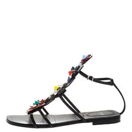Fendi Multicolor Leather Flowerland Ankle Strap Gladiator Flat Sandals Size 38 263136