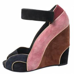 Pierre Hardy Multicolor Suede Ankle Strap Wedge Peep Toe Sandals Size 40 261778