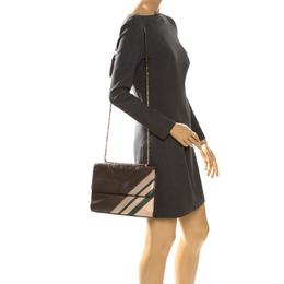 Tory Burch Dark Grey Leather Large Fleming Stripe Convertible Shoulder Bag 261410