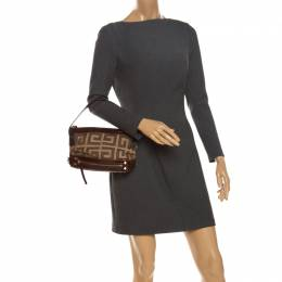 Givenchy Brown Crocodile Embossed and Canvas Baguette Bag
