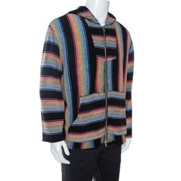 Amiri Multicolor Striped Cotton Zip Front Baja Hoodie M 263384
