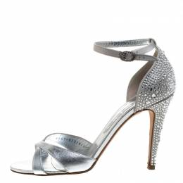 Gina Silver Leather And Satin Crystal Embellished Heel Ankle Strap Sandals Size 40 262945