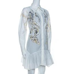 Roberto Cavalli White Brasso Feather Print Cotton Shirt Dress S 262944