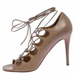 Valentino Beige Leather Rockstud Open Toe Lace Up Ankle Wrap Sandals Size 40