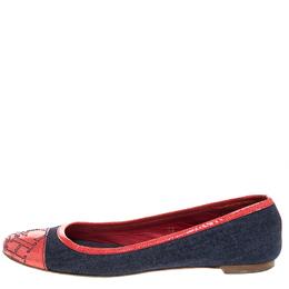 Carolina Herrera Blue Denim And Orange Patent Leather Logo Cap Toe Ballet Flats Size 38 262613