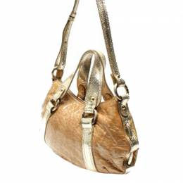 Emporio Armani Gold/Silver Leather Shoulder Bag